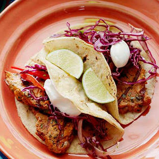 Grilled Chipotle Pork Tacos with Red Slaw.