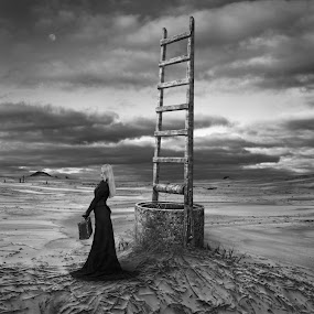 Every Choice is Hard by Dariusz Klimczak - Digital Art People ( clouds, ladder, moon, desert, mood, kwadrart, woman, dress, dark, square, surreal, klimas, mono )