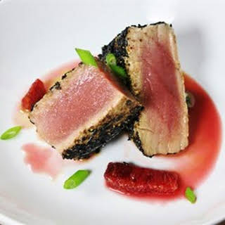 Pan-Seared Ahi Tuna with Blood Orange Sauce.