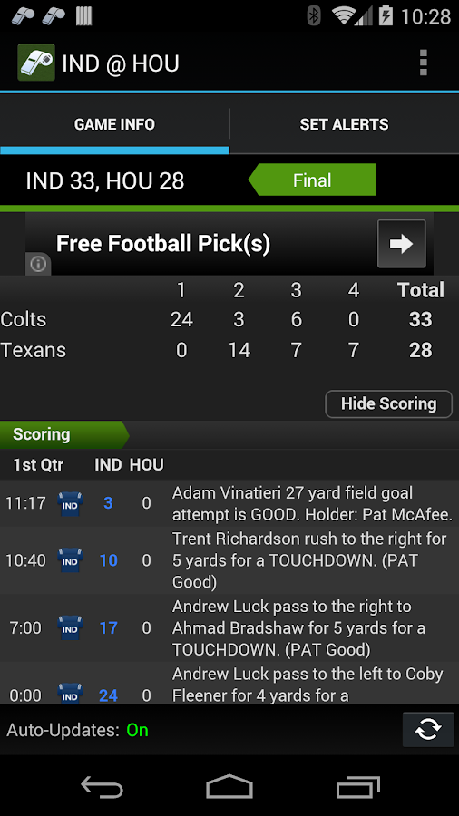Sports Alerts - NFL edition- screenshot