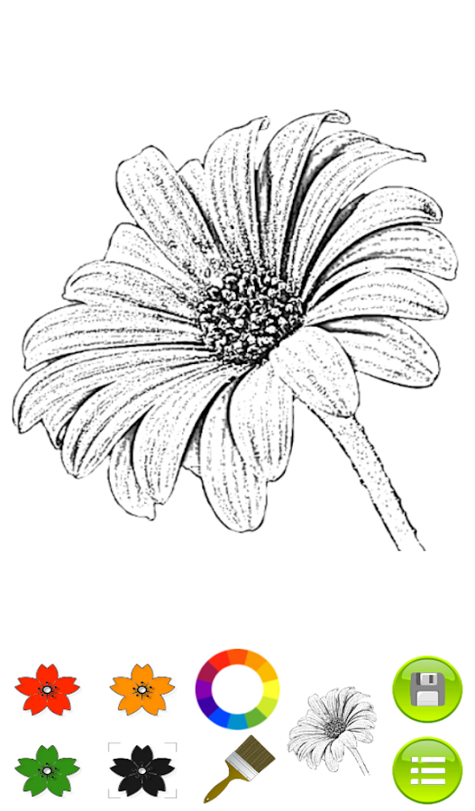 sketch coloring book flowers screenshot