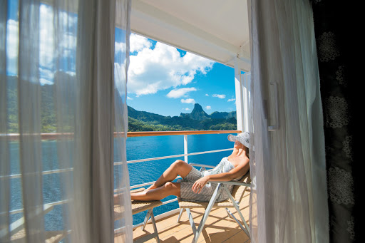 Nearly 70% of the suites and staterooms on the Paul Gauguin feature a balcony.