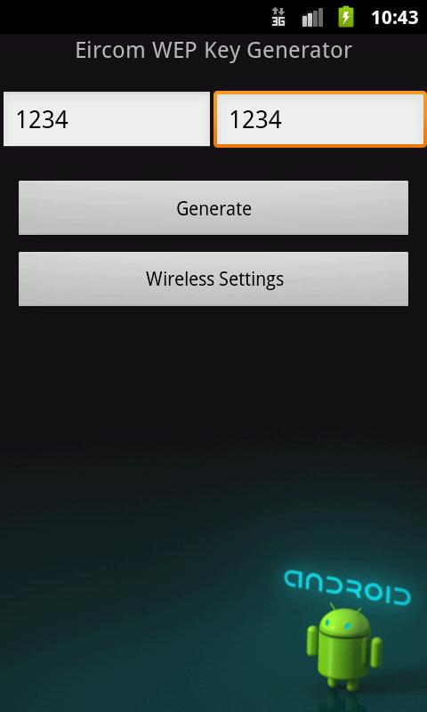 Eircom WEP Key Generator - screenshot