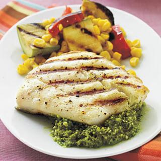 Halibut with Quick Lemon Pesto