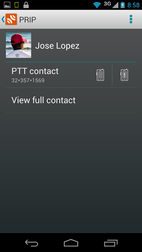 Prip Push-To-Talk service - screenshot