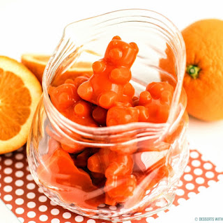 Healthy Homemade Gummy Bears — Orange Flavored (all natural, fat free, no added sugar!).