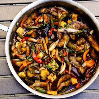 Thai Basil Eggplant (vegan, contains gluten)