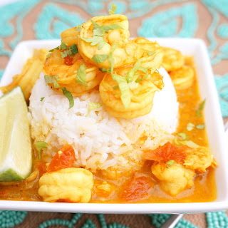 Red Coconut Curry with Shrimp and Rice