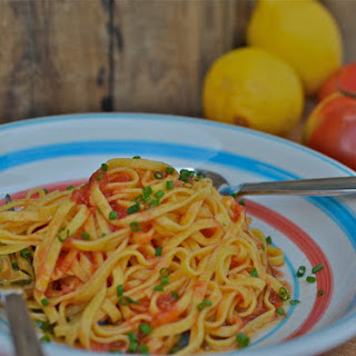 Pasta with Raw Tomatoes & Lemon Infused Olive Oil Recipe