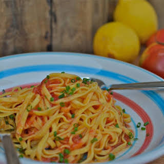 Pasta with Raw Tomatoes & Lemon Infused Olive Oil.