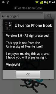 UTwente Phone Book- screenshot thumbnail