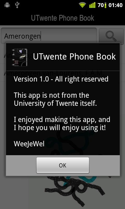 UTwente Phone Book- screenshot