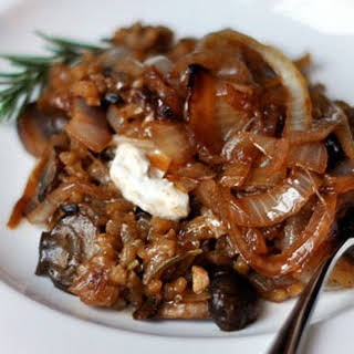 Mushroom Risotto with Caramelized Onions.