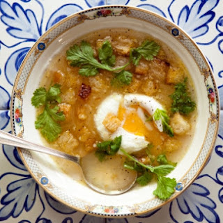 Garlic and Cilantro Soup with Poached Eggs and Croutons Recipe