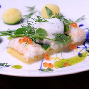 Polenta Tart with Lobster and Ariake Shellfish Broth
