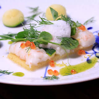 Polenta Tart with Lobster and Ariake Shellfish Broth.