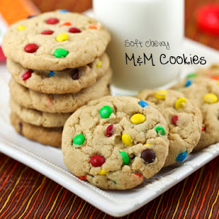 Soft Chewy M&M Cookies.