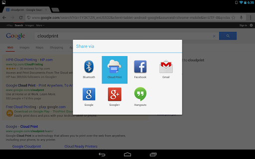 Google Cloud Print App Screenshot