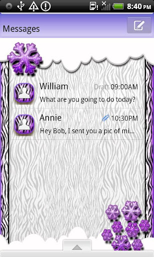 GO SMS THEME SnowZebraPrpl