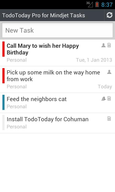 TodoToday Pro for Mindjet - screenshot