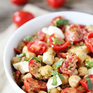 Chickpea, Pesto, Tomato, and Mozzarella Salad