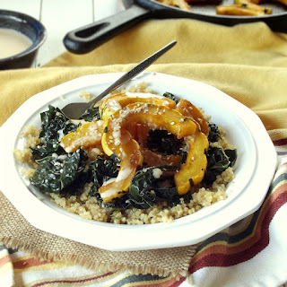 Roasted Delicata Squash Bowls with Apple Cider Tahini Dressing.