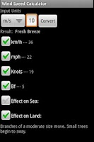 Screenshot of Wind Speed Calculator