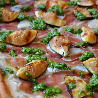 Grilled Pizza with Figs, Prosciutto, Gorgonzola and Arugula Pesto
