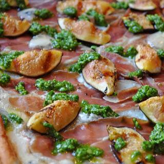 Grilled Pizza with Figs, Prosciutto, Gorgonzola and Arugula Pesto.