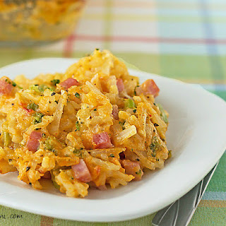 Broccoli Cheddar Hashbrown Casserole with Ham