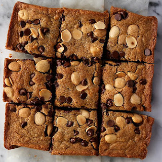 Blonde Brownies with Chocolate Chips and Marcona Almonds.