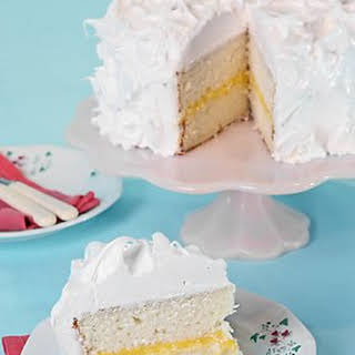 White Layer Cake with Lemon Curd Filling.