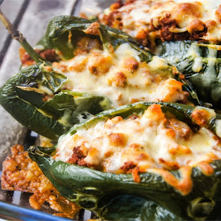 """Chorizo"" Stuffed Poblano Peppers."