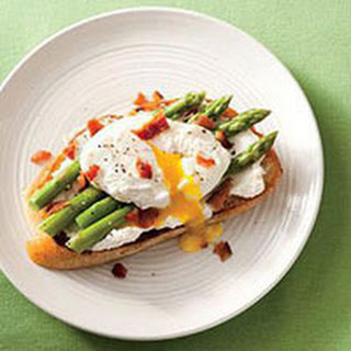Ricotta Toasts with Asparagus and Poached Eggs.