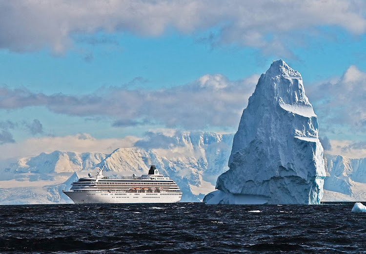 Crystal Symphony takes you past sweeping icebergs in Antarctica.