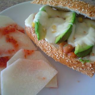 Beans and Hot Sauce Sandwich.