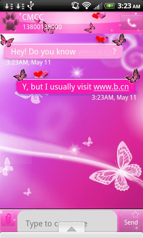 Pink Butterfly Theme Go SMS XO- screenshot