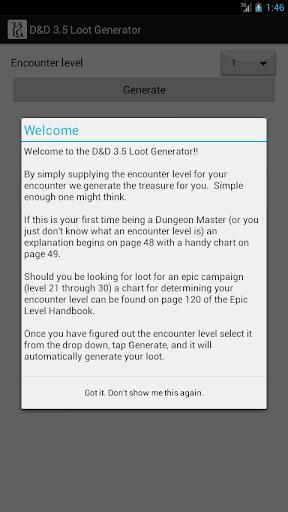 D D 3.5 Loot Generator