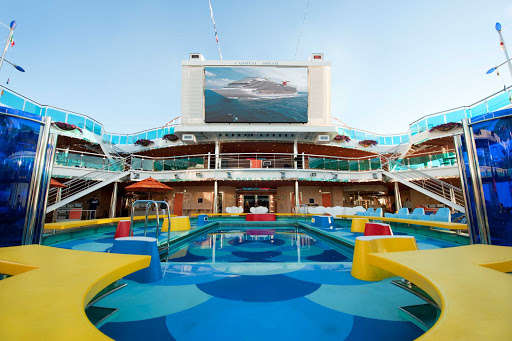 Carnival-Dream-Dream-Waves-Pool - Watch films, concerts and sporting events on the giant LED screen overlooking the Waves pool on Carnival Dream.