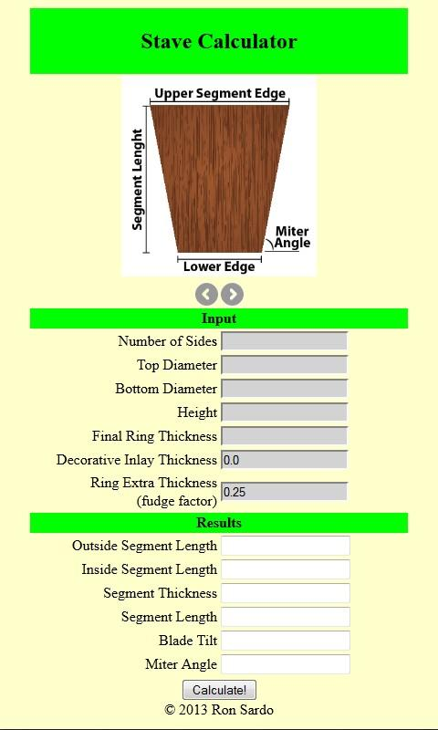 Woodturning Stave Calculator- screenshot