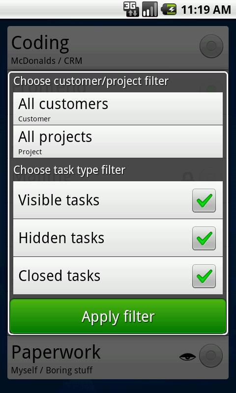 MrTickTock - time tracker- screenshot