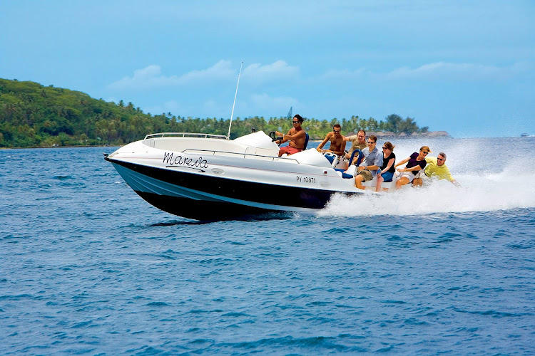 Get the adrenaline pumping during a jetboat outing in French Polynesia's beauty aboard an exciting jetboat shore excursion.