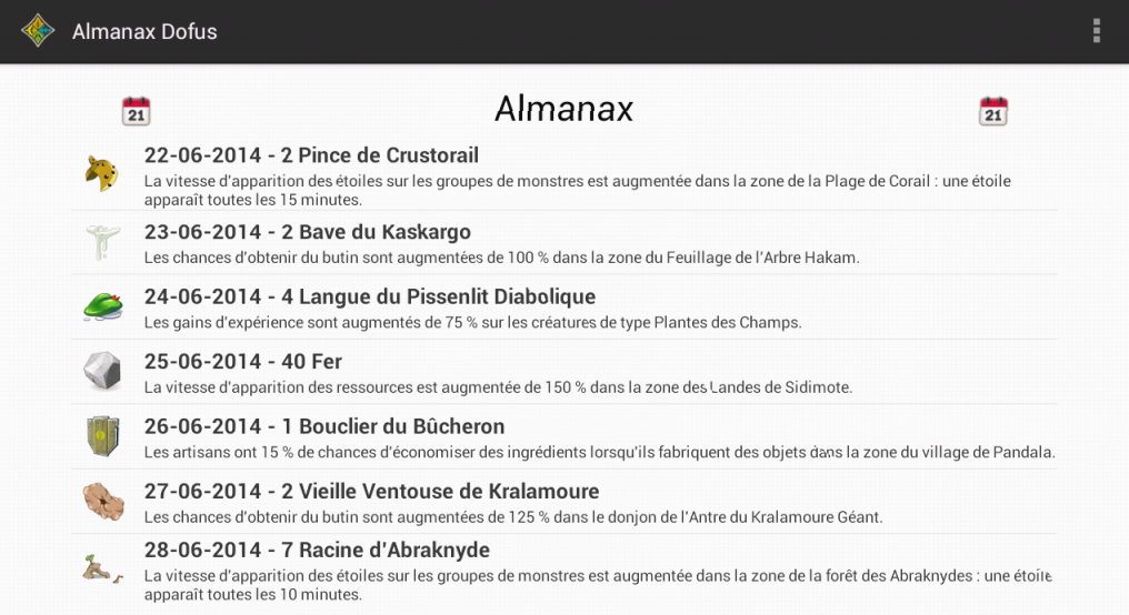 Almanax Dofus- screenshot