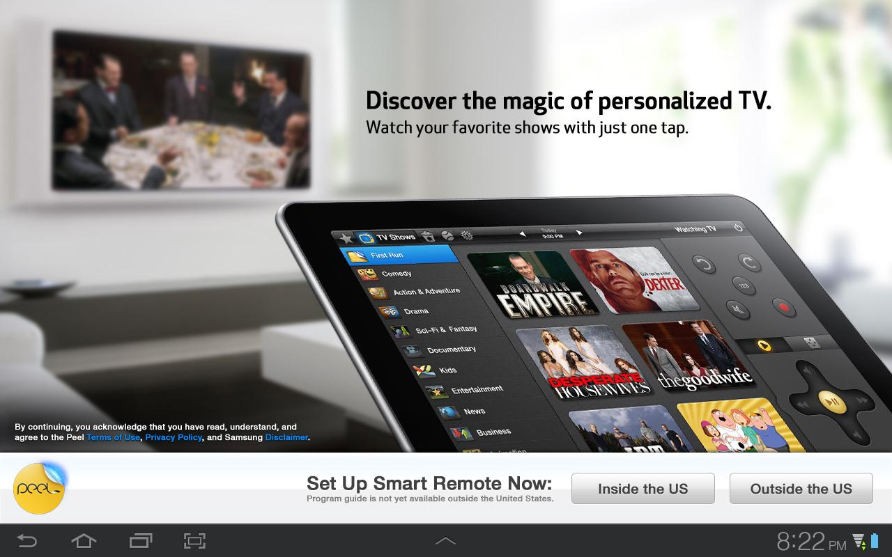 Peel Smart Remote (Galaxy Tab) - screenshot