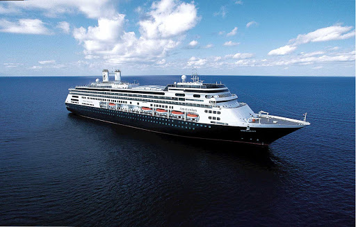 Holland-America-Amsterdam-at-sea - Holland America Line's MS Amsterdam at sea. Amsterdam is renowned for its Grand Pacific and Far East Voyages. For a journey of a lifetime,  circumnavigate the globe on her Grand World Voyage.