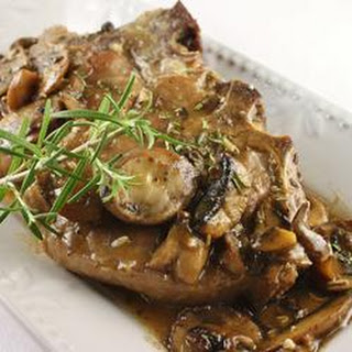 Veal Chop with Portabello Mushrooms.