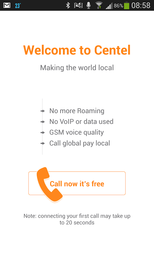 Centel International Calling - screenshot