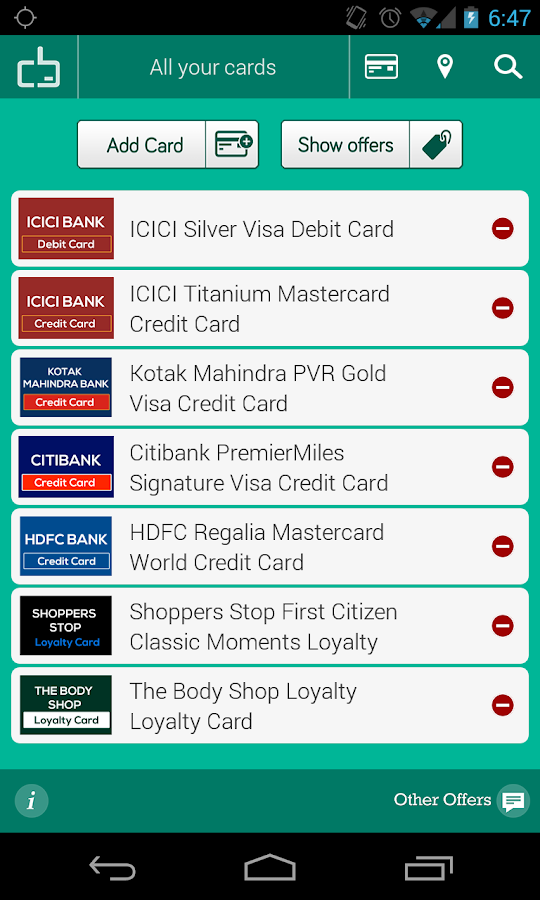 Cardback: Credit Card Offers - screenshot
