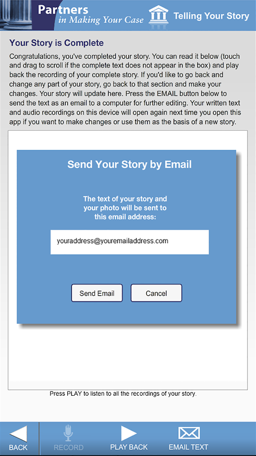 Telling Your Story  (Tablet)- screenshot