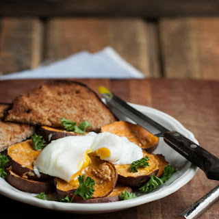 Roasted Garlic Sweet Potatoes with a Poached Egg.